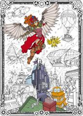 Steampunk Metropolis - 10x14 Coloring Poster