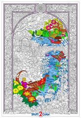 Enchanted Lake - Giant Coloring Poster with Hidden Flowers, Animals, and Creatures - Detailed Design for Kids and Adults