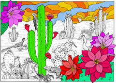 Desert Bloom - 10x14 Coloring Poster
