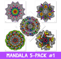 Mandala Coloring Poster 5-Pack I