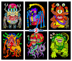 Monsters - Fuzzy Velvet 6-Pack