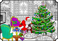 Santa's Delivery - 10x14 Coloring Poster