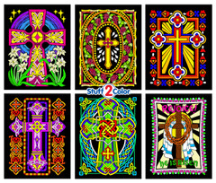 Crosses 6 Pack of Fuzzy Coloring Posters