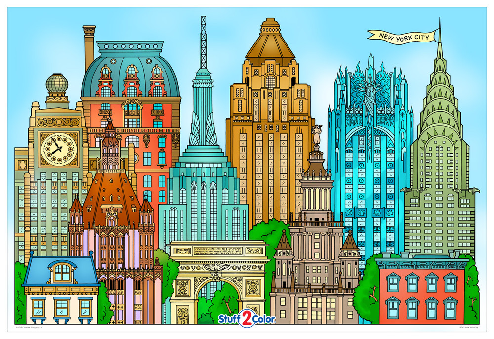 Giant New York City coloring poster.