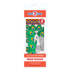 Proud Peacock - Coloring Bookmark (2 Pack)