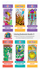 Coloring Bookmarks Bundle #1 - 6-Pack with 12 Colored Pencils