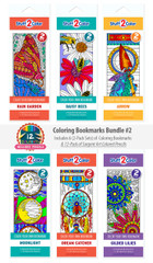Coloring Bookmarks Bundle #2 - 6-Pack with 12 Colored Pencils