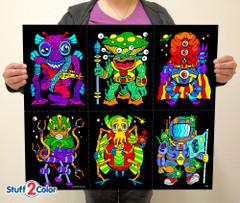 Aliens - Fuzzy Velvet Coloring Poster 6-Pack