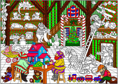 Santa's Workshop - Coloring Poster
