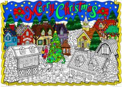 Christmas Village - 10x14 Line Art Coloring Poster