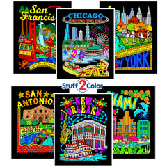 USA Cities - Fuzzy Poster 6 Pack