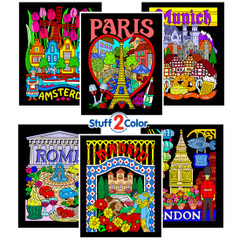European Cities - Fuzzy Coloring Poster 6 Pack