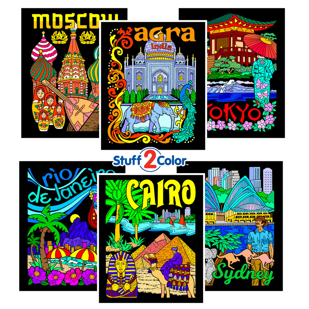 International Cities - Fuzzy Coloring Poster 6 Pack