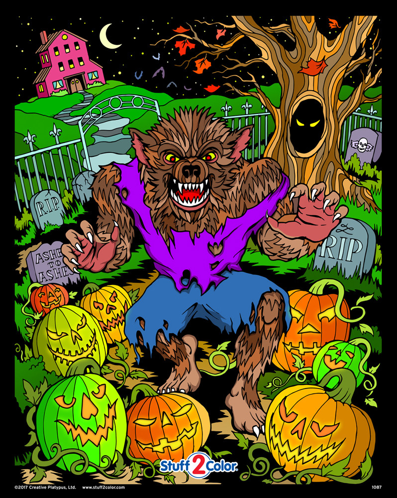 Halloween Werewolf - Fuzzy Coloring Poster