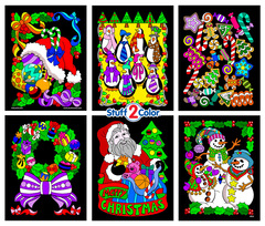 Santa's 6-Pack of Christmas Themed Fuzzy Coloring Posters