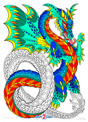 Dragon Coil - 10x14 Coloring Poster