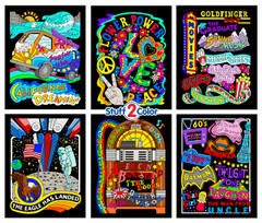 60's Themed 6-Pack of Fuzzy Posters