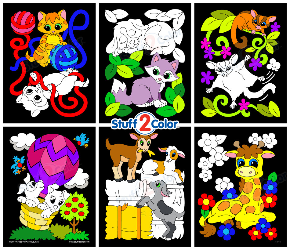 Pack of 6 Baby Animals Assorted Fuzzy Velvet Coloring Posters ...