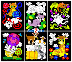 Pack of 6 Baby Animals Assorted Fuzzy Velvet Coloring Posters