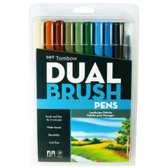 Tombow Dual Brush Pen Set, 10-Pack, Landscape Set with Blender Brush