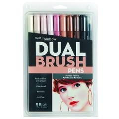 Tombow Dual Brush Pen Set, 10-Pack, Portrait Set with Blender Brush