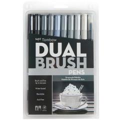 Tombow Dual Brush Pen Set, 10-Pack, Grayscale Set with Blender Brush
