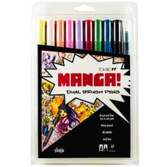 Tombow Dual Brush Pen Set, 10-Pack, Shojo Manga Set with Blender Brush