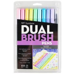 Tombow Dual Brush Pen Set, 10-Pack, Pastel Set with Blender Brush