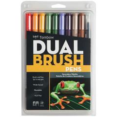Tombow Dual Brush Pen Set, 10-Pack, Secondary Set with Blender Brush