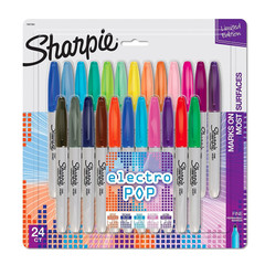 Sharpie Electro Pop Permanent Markers, Fine Point, Assorted Colors, 24-Count