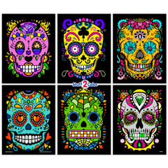 Day of the Dead (Sugar Skulls) 6-Pack Fuzzy Velvet Coloring Posters