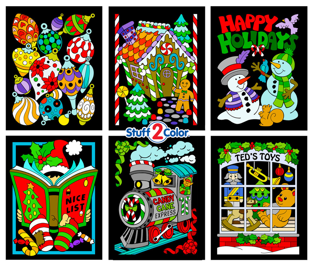 Christmas Scenes 6-Pack Fuzzy Velvet Coloring Posters - Stuff2Color