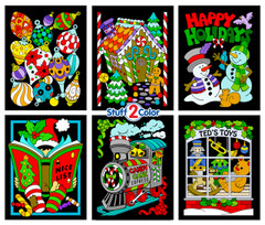 Christmas Scenes 6-Pack Fuzzy Velvet Coloring Posters