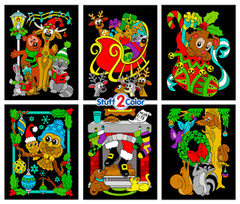 Christmas Animals 6-Pack Fuzzy Velvet Coloring Posters