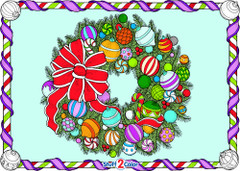 Christmas Wreath - 10x14 Coloring Poster