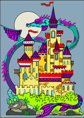 Dragon Towers - 10x14 Coloring Poster