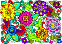 Flower Doodles - 10x14 Coloring Poster