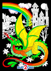 Dragon Castle Fuzzy Coloring Poster - For Kids and Adults