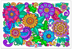 Giant Flower Doodle - Big Coloring Poster