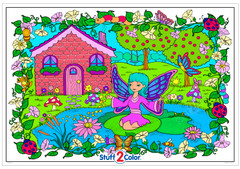 Fairy Cottage - Giant Coloring Poster