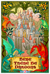 Here There Be Dragons - Giant Coloring Poster
