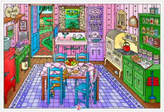 Granny's Kitchen  - Giant Coloring Poster for Kids and Adults