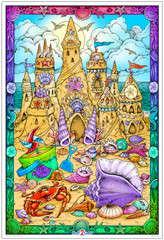 Sandcastle  - Giant Coloring Poster for Kids and Adults