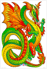 Dragon Coil  - Giant Fantasy Coloring Poster for Kids and Adults