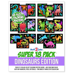 Super 18 Pack of Fuzzy Velvet Coloring Posters (Dinosaurs Edition)