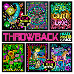 Throwback Pack of 6 Retro Velvet Coloring Posters - Classic Designs for All Ages