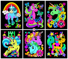 Unicorns - 6 Pack of Fuzzy Velvet Coloring Posters for Kids and Adults