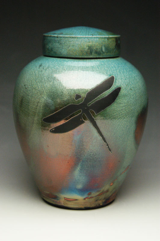 Dragonfly Raku Ceramic Cremation Vase