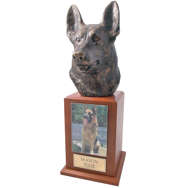 German Shepherd Urn in Cherry