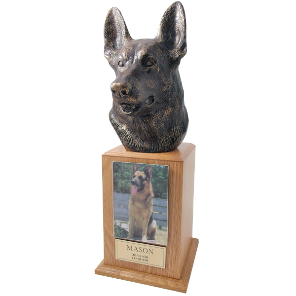 German Shepherd Urn Tower in Oak